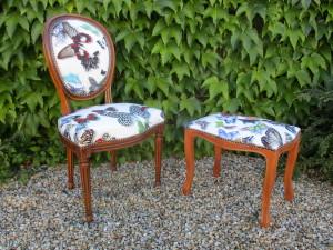 Chaise et tabouret Louis XVI